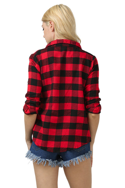 Chicloth New Wild Plaid Long Shirt Long Sleeve Casual Ladies Shirt 03