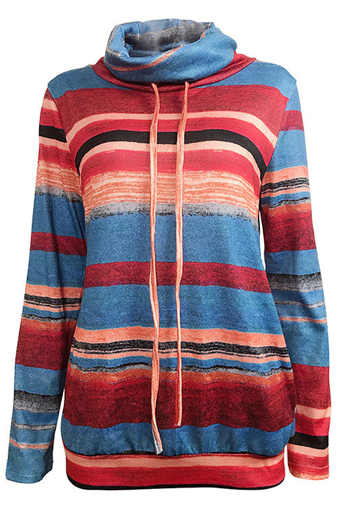 A| Chicloth Casual Long Sleeve Striped Cowl Neck Sweatshirts-sweatshirts-Chicloth