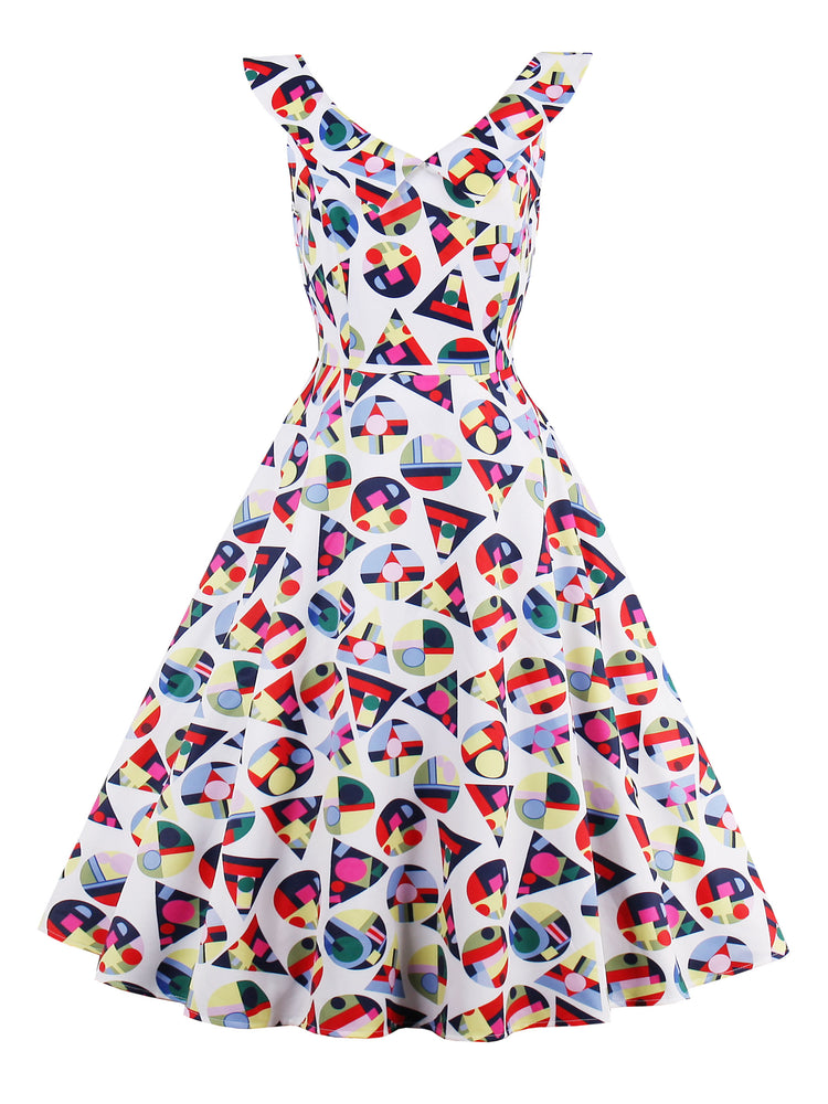 Chicloth Triangle Round Printed Floral Dress-Chicloth