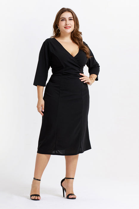 B| Chicloth Elegant Deep V-Neck A-Line Three Quarter Sexy Casual Women Dress-Plus Size Dresses-Chicloth