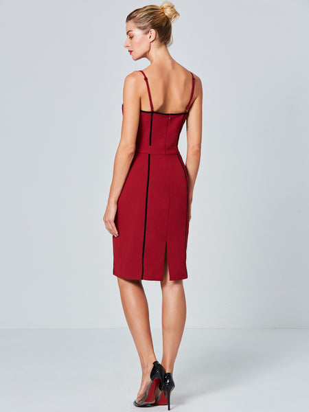 Chicloth Burgundy String Open Back Sexy Bodycon Dress - Chicloth