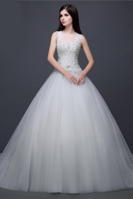 Chicloth A-line Silky Organza And Satin Wedding Gown Dress