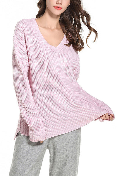 A| Chicloth Long Sleeve Knitted Sweater V-Neck Autumn Winter Plus size Pullovers Sweater