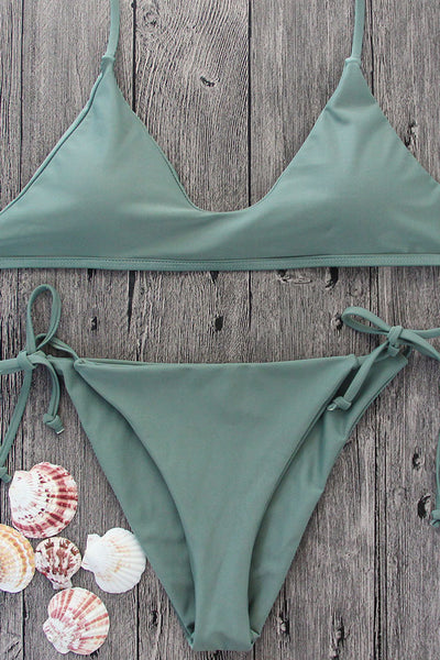 Chicloth Army Green Sexy Triangle String Bikini Set - Chicloth