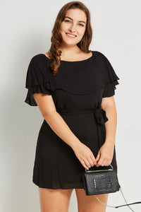 Chicloth Black Round Neck Plus Size Mini Dress - Chicloth