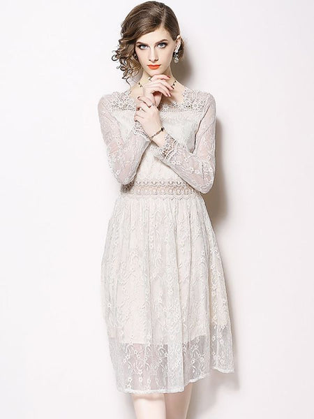 Formal Dresses Long Sleeve Casual Dresses Daytime A-Line Square Neck Guipure Lace Lace Dresses-Lace Dresses-Chicloth