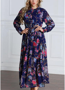 B| Chicloth 6xl Women Floral Button Front Chiffon Long Sleeves Plus Size Dress