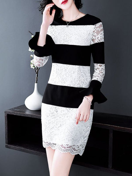 Black-white Guipure Crew Neck Sheath Frill Sleeve Paneled Lace Dresses-Lace Dresses-Chicloth
