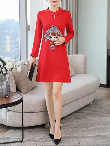 Sheath Elegant Graphic Long Sleeve Holiday Slit Printed Midi Dresses