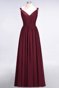 A-Line Chiffon Straps V-Neck Sleeveless Backless Floor-Length Bridesmaid Dress with Ruffles