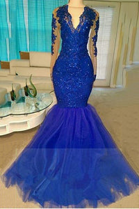 A| Chicloth Royal-Blue Long-Sleeve Beading Sequins V-neck Appliques Mermaid Tulle Prom Dresses-Prom Dresses-Chicloth