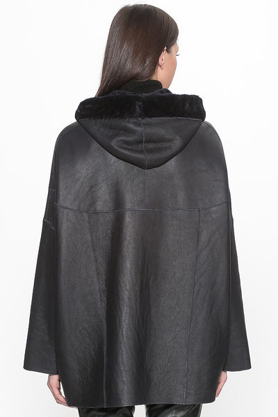 Chicloth Black Leather Zipper Hooded Jacket - Chicloth