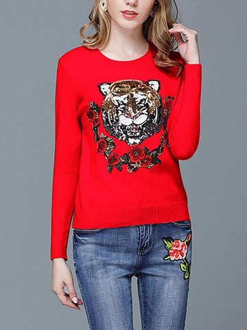 Animal Casual Long Sweaters-Sweaters-Chicloth