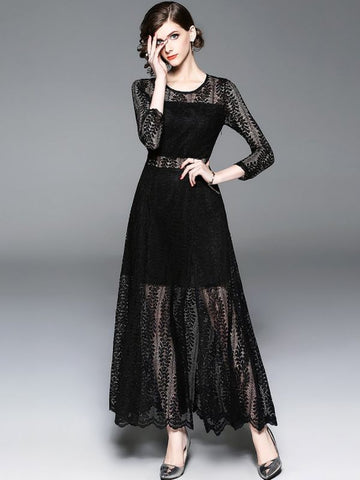 A-line Daytime Sexy Solid Slit Lace Prom Dresses-Prom Dresses-Chicloth