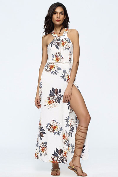 Chicloth Sleeveless Open Back Floral Print Dress