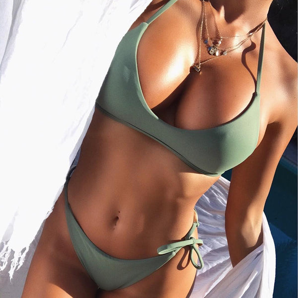 A| Chicloth Army Green Bikini Set Strip Women Swimsuit