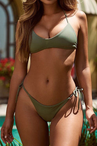 A| Chicloth Army Green Bikini Set Strip Women Swimsuit-New Swimwear 1703-Chicloth