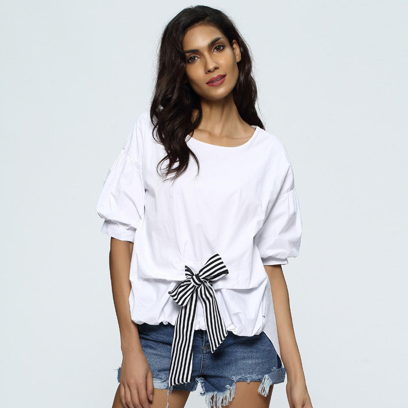 Chicloth Middle Sleeve Bow tie T-Shirt