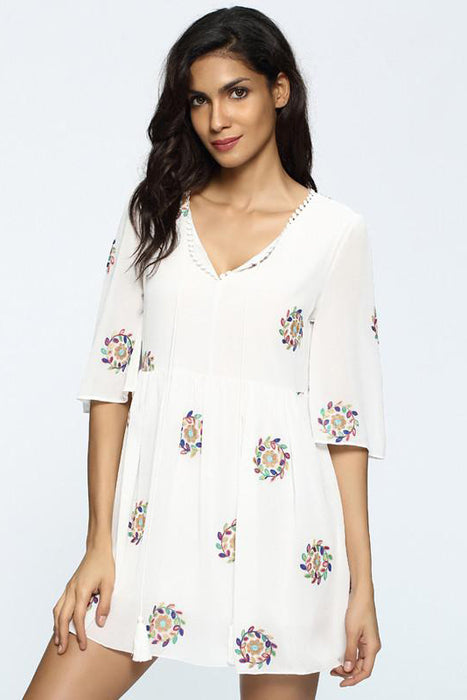 Chicloth Floral Print V-neck White Dress-Chicloth