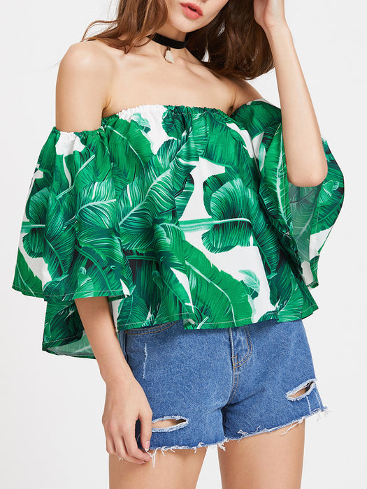 Chicloth Off the shoulder Green Tops-Chicloth