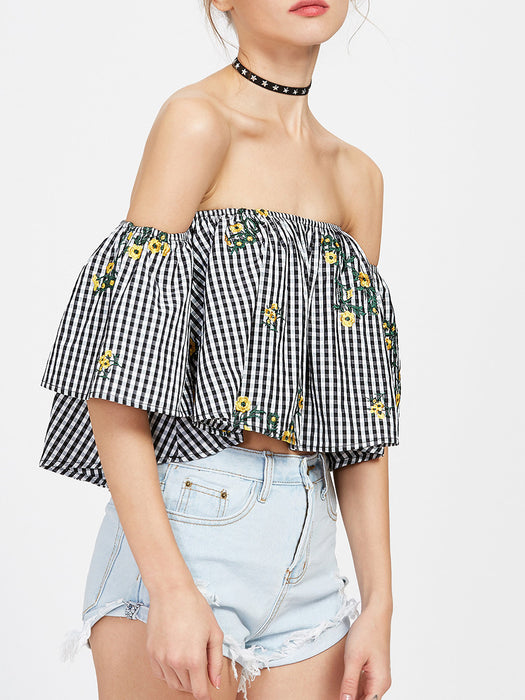 Chicloth Off the shoulder Small Yellow Flower Tops-Chicloth