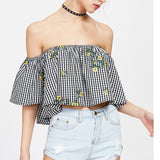 Chicloth Off the shoulder Small Yellow Flower Tops