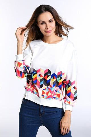 B| Chicloth Women Spring Sweatshirt Casual Colorful Diamonds Hoodie - Chicloth