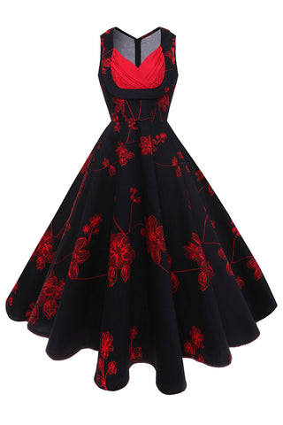 B| Chicloth Bodycon V Neck Female Clothing Gorgeous Red Floral Print Summer Dress - Chicloth