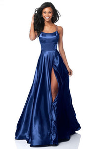 A| Chicloth Backless Floor Length Prom Dress Split Charmeuse Evening Dress