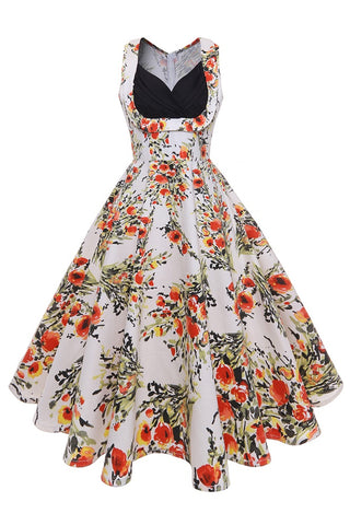 B| Chicloth Gorgeous White Women Dress Sexy V Neck Floral Print Summer Dress - Chicloth