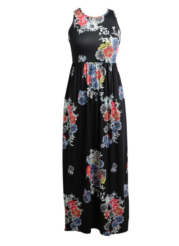 B/ Chicloth Sexy Floral Print Sleeveless Racerback Tunic Maxi Beach Women's Long Dress - Ink Blue / L