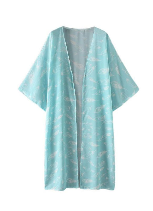 B| Chicloth Women Kimono Beach Cover Up Outerwear-chinlon,polyester,coverup-Chicloth