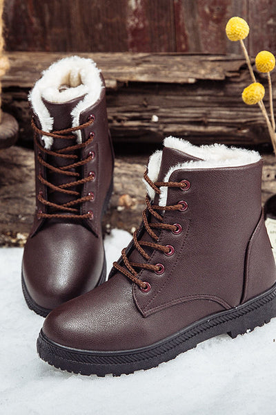 A| Chicloth Winter Keep Warm Round Head Plain Strappy Floss Padded Snow Boots-Boots-Chicloth