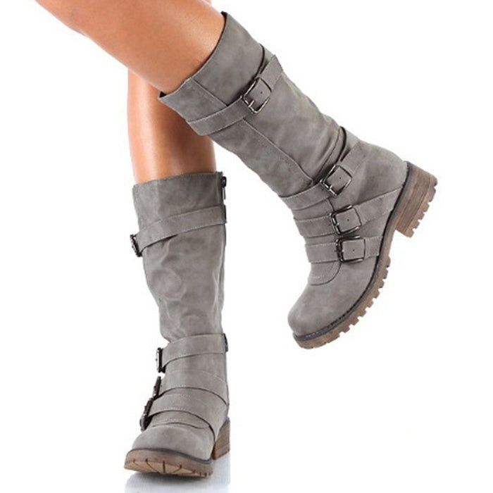 B| Chicloth Grey Round Toe Chunky Buckle Fashion Mid-Calf Boots-Boots-Chicloth