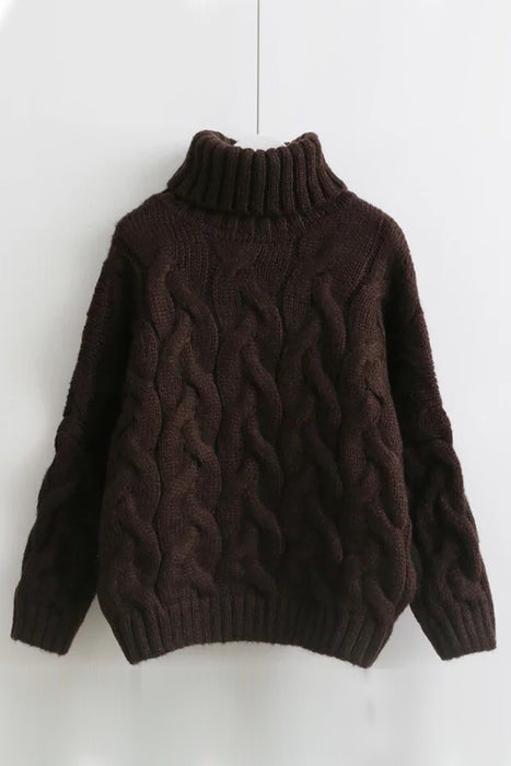 A| Chicloth Hot Sale Cable Knit Turtleneck Sweaters-Sweaters-Chicloth
