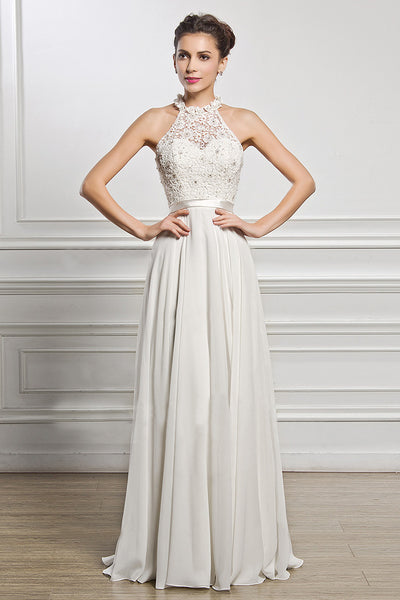 A| Chicloth A-Line Scoop Neck Chiffon Lace Evening Dress With Beading Sequins - Chicloth