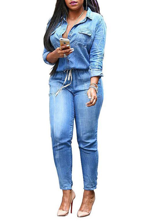 Chicoth Shirt Collar Light blue Daily Casual Demin Solid Jumpsuit-Chicloth