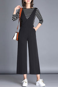 A| Chicloth Black Daily Plunging neck Solid Casual Summer Jumpsuit