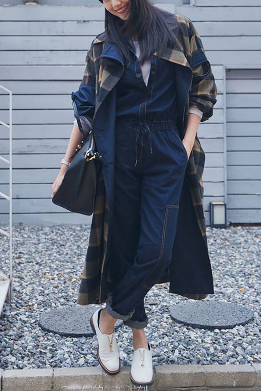 Chicloth Dark blue Casual Denim Long Sleeve V neck Pockets Jumpsuit