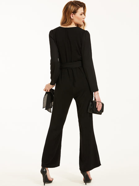 Chicloth Black V-Neck Collar Belt Jumpsuit