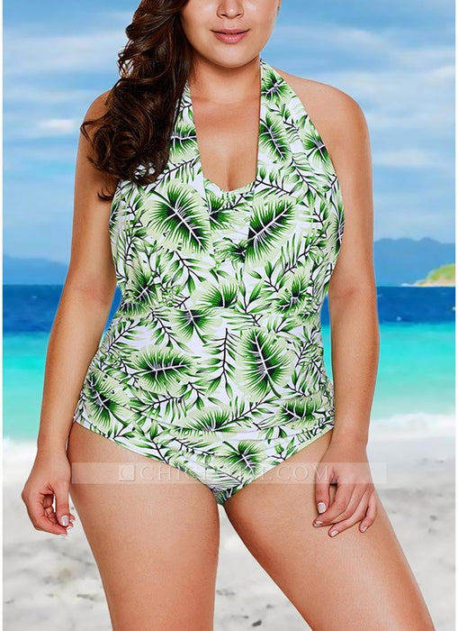 C| Chicloth Halter Neck Backless Bathing Suit Padded Push Up Swimsuit-polyester,nylon,plussizeswimsuit-Chicloth
