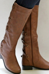 A| Chicloth Winter Tall Riding Leather Strappy Flat Boots-Boots-Chicloth