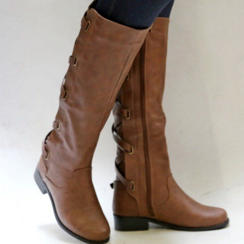 A| Chicloth Winter Tall Riding Leather Strappy Flat Boots