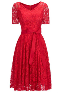 Chicloth Elegant V-neck Short Sleeves Lace Dresses with Bow Sash-Lace Dresses-Chicloth
