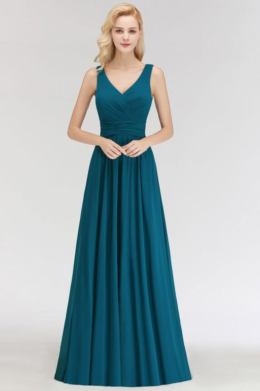 Chicloth Sleeveless Chiffon Newest A-line Straps Floor-length Bridesmaid Dress-Bridesmaid Dress-Chicloth