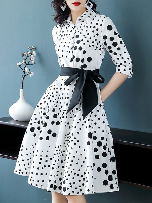 Chicloth Shirt Collar White Midi Dress Date Dress Half Sleeve Bow Polka Plus Size Dresses-Plus Size Dresses-Chicloth