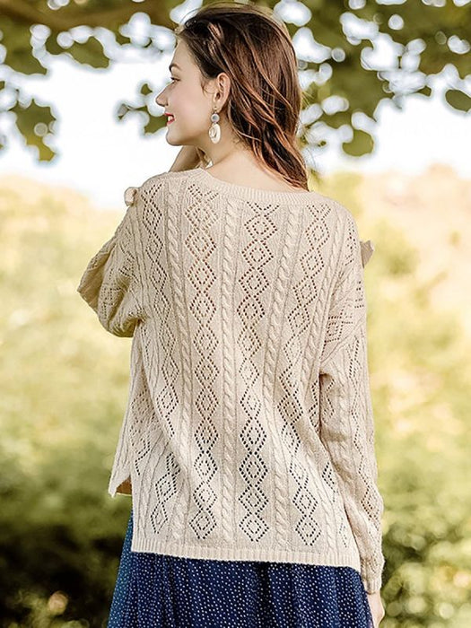 Apricot V neck Long Sleeve Geometric Sweaters-Sweaters-Chicloth