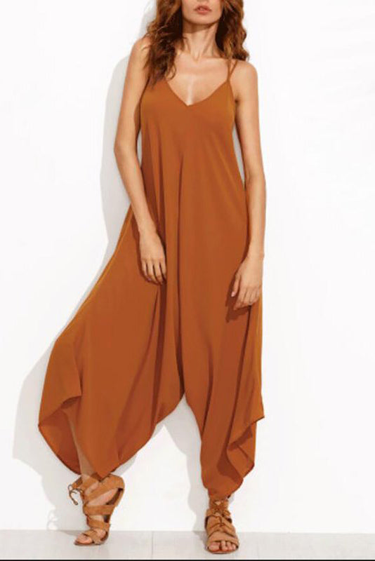 Chicloth Camel Holiday Spaghetti Summer Solid Jumpsuit