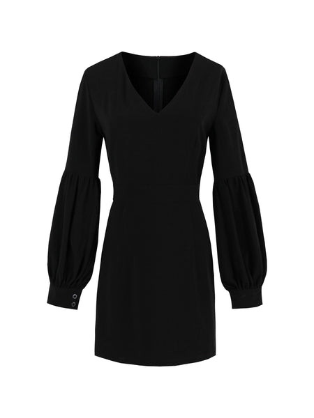 Chicloth Black Puff Sleeve V Neck Dress