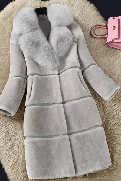 B| Chicloth Long Sleeve V-neck Pockets Faux Fur Coats-Faux Fur Coats-Chicloth
